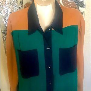 Koret color block button up blouse plus 18